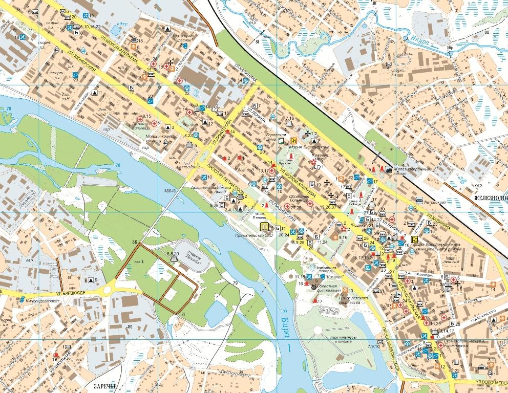 Как называется город облучье карта